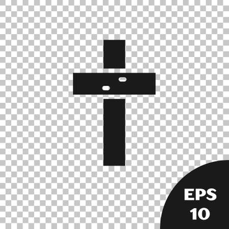 Black Christian cross icon isolated on transparent background. Church cross. Vector