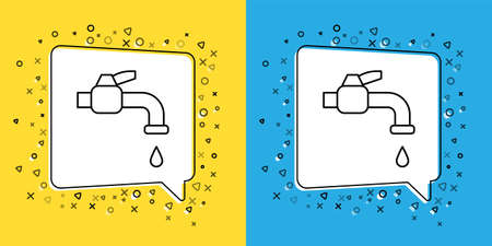 Set line Water tap icon isolated on yellow and blue background. Vector Illustration