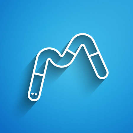 White line Jelly worms candy icon isolated on blue background. Long shadow. Vector Illustration