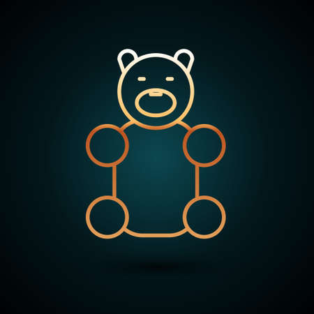 Gold line Jelly bear candy icon isolated on dark blue background. Vector