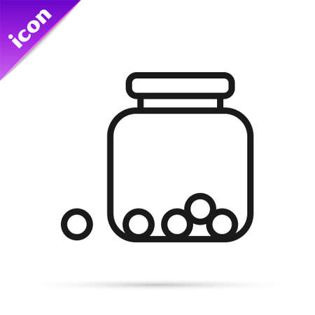 Black line Glass jar with candies inside icon isolated on white background. Vector 向量圖像