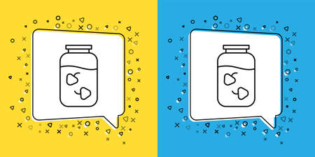 Set line Strawberry jam jar icon isolated on yellow and blue background. Vector