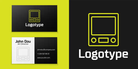 line Electronic scales icon isolated on black background. Weight measure equipment.   design template element. Vector 向量圖像