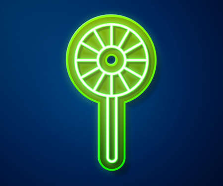 Glowing neon line Lollipop icon isolated on blue background. Candy sign. Food, delicious symbol. Vector