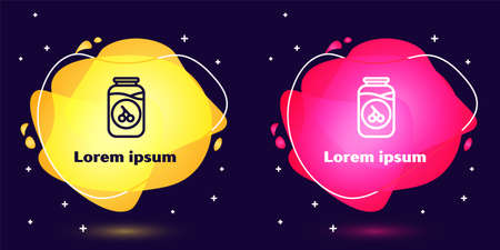 Set line Cherry jam jar icon isolated on blue background. Abstract banner with liquid shapes. Vector 向量圖像