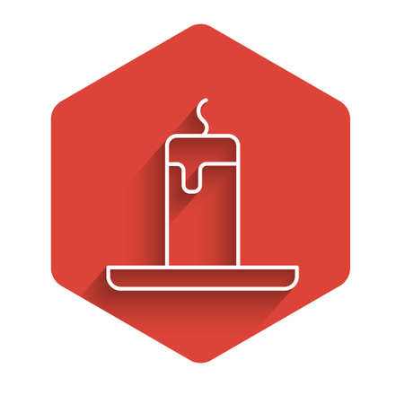 White line Burning candle icon isolated with long shadow. Cylindrical candle stick with burning flame. Red hexagon button. Vector