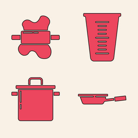 Set Frying pan, Rolling pin on dough, Measuring cup and Cooking pot icon. Vector