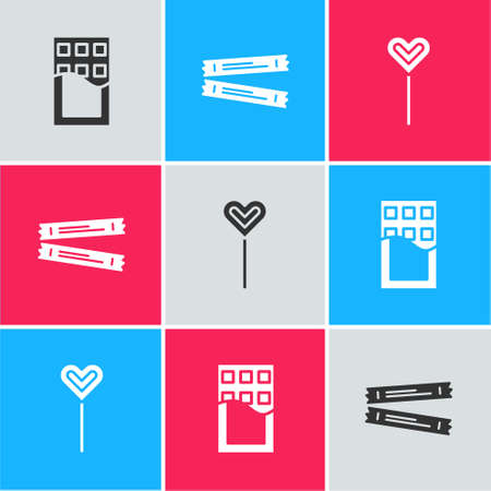 Set Chocolate bar, Sugar stick packets and Lollipop icon. Vector