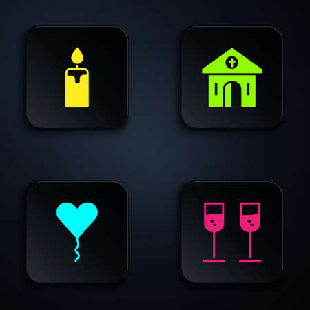 Set Glass of champagne, Burning candle, Balloon form heart and Church building. Black square button. Vector Ilustracja