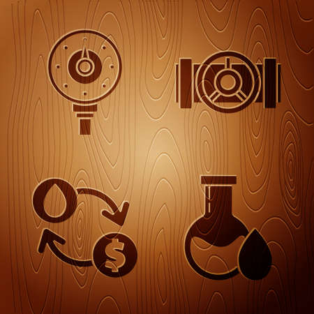 Set Oil petrol test tube, Motor gas gauge, Oil exchange, water transfer, convert and Industry metallic pipes and valve on wooden background. Vector 矢量图像