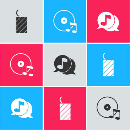 Set Firework rocket, Vinyl disk and Musical note speech bubble icon. Vector