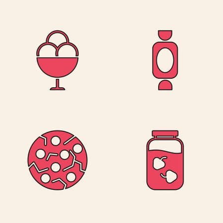 Set Strawberry jam jar, Ice cream in bowl, Candy and Cookie or biscuit icon. Vector