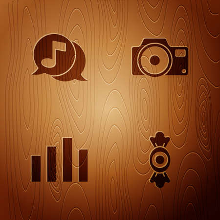 Set Candy, Musical note in speech bubble, equalizer and Photo camera on wooden background. Vector