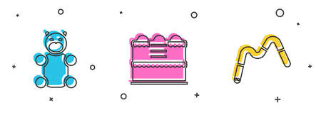 Set Jelly bear candy, Cake and worms icon. Vector 向量圖像