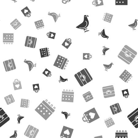 Set Dove, Shopping bag with heart, Wedding rings and Calendar on seamless pattern. Vector