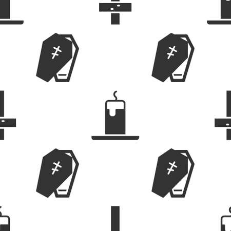 Set Christian cross, Burning candle and Coffin with cross on seamless pattern. Vector