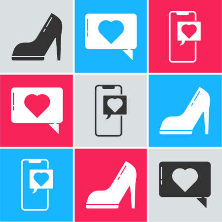 Set Woman shoe with high heel, Like and heart and Smartphone with heart speech bubble icon. Vector 矢量图像