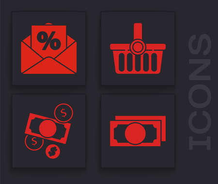 Set Stacks paper money cash, Envelope with an interest discount, Shopping basket and Money cash and coin icon. Vector