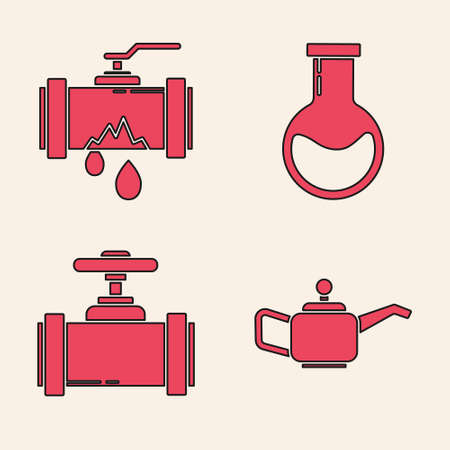 Set Canister for motor machine oil, Broken metal pipe with leaking water, Test tube and flask and Industry metallic pipes and valve icon. Vector Ilustrace
