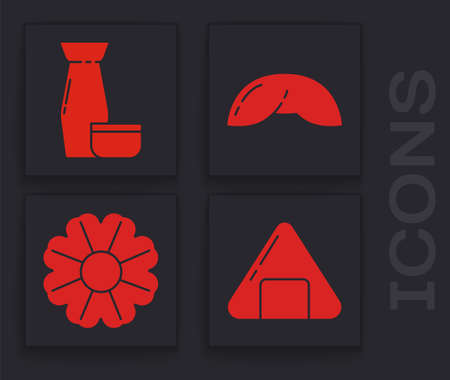 Set Sushi, Traditional Japanese tea ceremony, Chinese fortune cookie and Flower icon. Vector