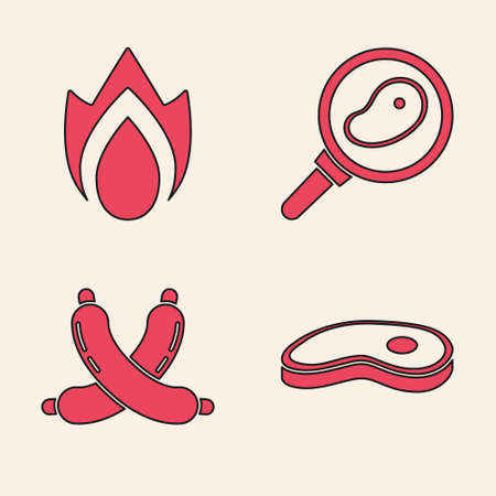 Set Steak meat, Fire flame, Steak meat in frying pan and Crossed sausage icon. Vector Vettoriali