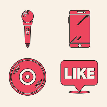 Set Like in speech bubble, Microphone, Smartphone, mobile phone and Vinyl disk icon. Vector Vettoriali