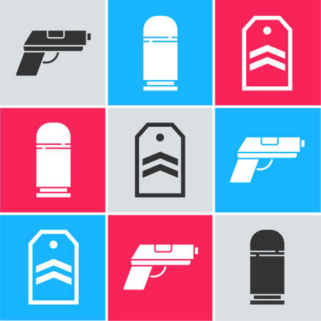 Set Pistol or gun, Cartridges and Chevron icon. Vector 版權商用圖片 - 157353591