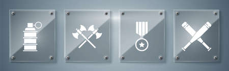 Set Crossed baseball bat, Military reward medal, Crossed medieval axes and Hand grenade. Square glass panels. Vector