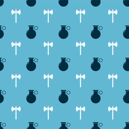 Set Hand grenade and Medieval axe on seamless pattern. Vector Vettoriali