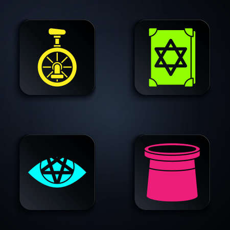 Set Magician hat, Unicycle or one wheel bicycle, Pentagram and Ancient magic book. Black square button. Vector  イラスト・ベクター素材