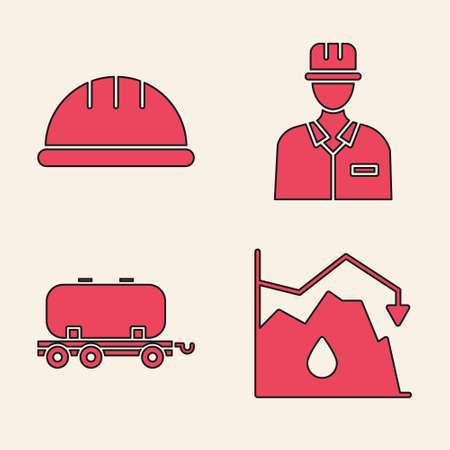 Set Drop in crude oil price, Worker safety helmet, Oilman and Oil railway cistern icon. Vector 向量圖像