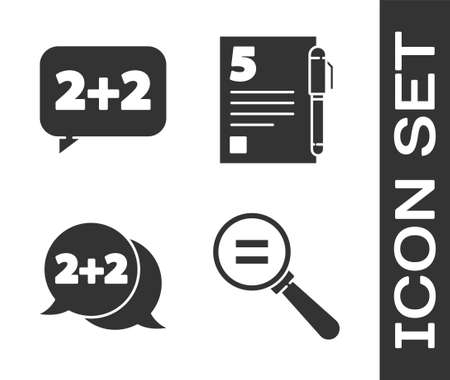 Set Calculation, Equation solution, Equation solution and Test or exam sheet and pen icon. Vector Ilustrace