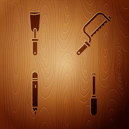 Set Screwdriver, Putty knife, Pencil with eraser and Hacksaw on wooden background. Vector 일러스트