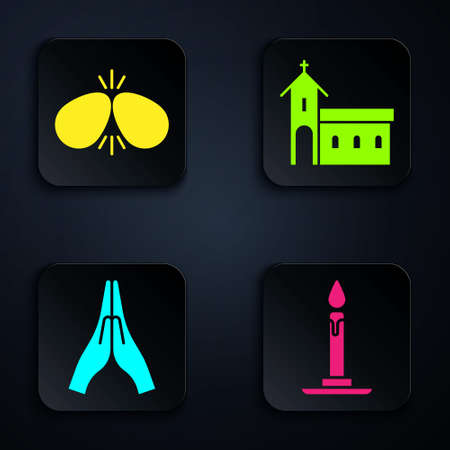 Set Burning candle in candlestick, Easter eggs, Hands in praying position and Church building. Black square button. Vector Ilustracja