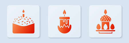 Set Burning candle, Easter cake and candle and Easter cake and eggs. White square button. Vector