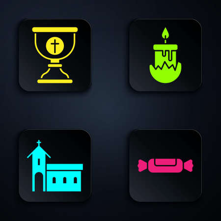 Set Candy, Christian chalice, Church building and Burning candle. Black square button. Vector