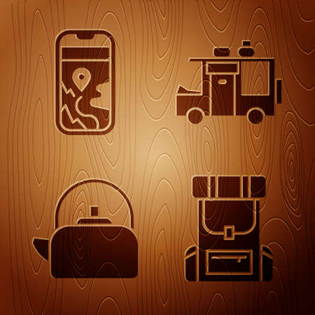Set Hiking backpack, City map navigation, Kettle with handle and Rv Camping trailer on wooden background. Vector Vettoriali