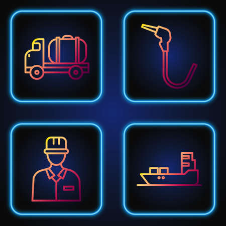 Set line Oil tanker ship, Oilman, Tanker truck and Gasoline pump nozzle. Gradient color icons. Vector 向量圖像