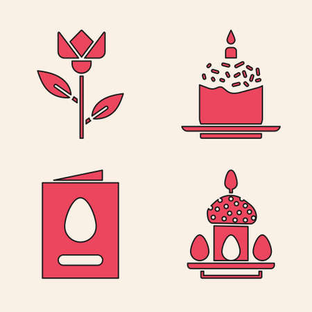 Set Easter cake and eggs, Flower tulip, Easter cake and candle and Greeting card with Happy Easter icon. Vector Ilustracja