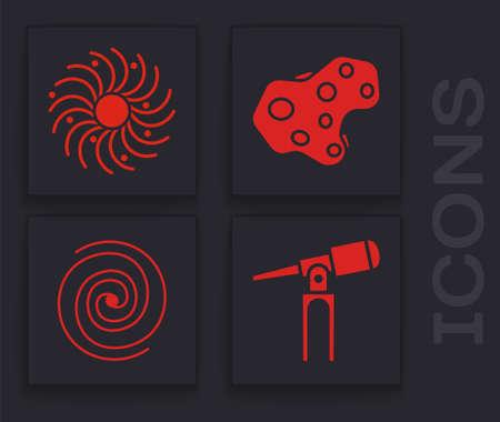Set Telescope, Black hole, Asteroid and Black hole icon. Vector 向量圖像