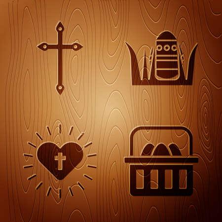 Set Basket with easter eggs, Christian cross, Christian cross and heart and Easter egg on wooden background. Vector