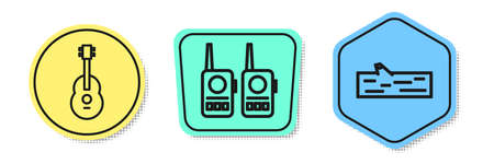 Set line Guitar, Walkie talkie and Wooden log. Colored shapes. Vector