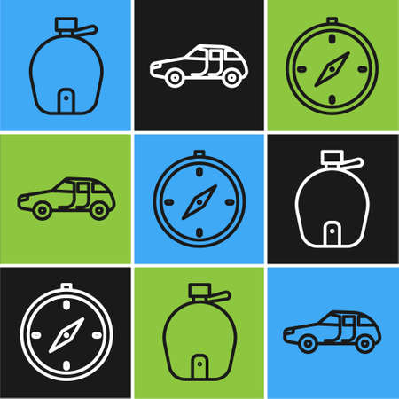 Set line Canteen water bottle, Compass and Car icon. Vector
