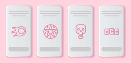 Set line Fireball, Pentagram in circle, Skull and Playing cards. White rectangle button. Vector