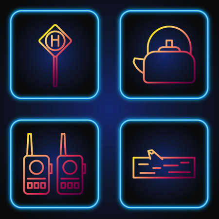 Set line Wooden log, Walkie talkie, Parking and Kettle with handle. Gradient color icons. Vector