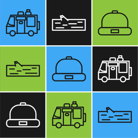 Set line Rv Camping trailer, Beanie hat and Wooden log icon. Vector