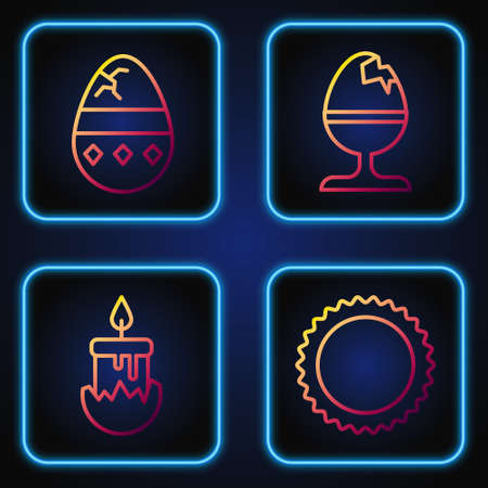 Set line Sun, Burning candle, Cracked egg and Chicken egg on a stand. Gradient color icons. Vector Ilustracja