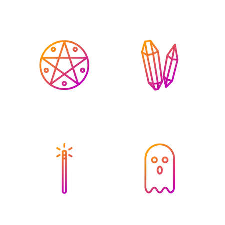 Set line Ghost, Magic wand, Pentagram in circle and stone. Gradient color icons. Vector
