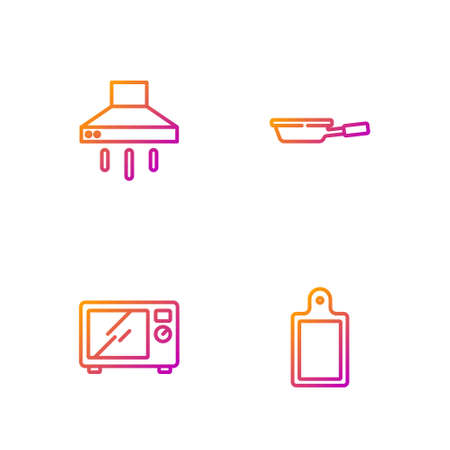 Set line Cutting board, Microwave oven, Kitchen extractor fan and Frying pan. Gradient color icons. Vector