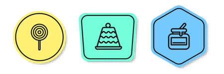 Set line Lollipop, Cake and Jar of honey. Colored shapes. Vector 向量圖像
